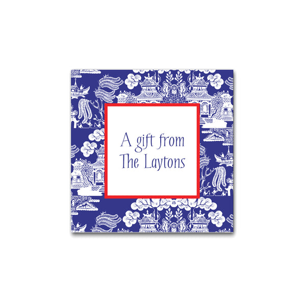 Chinoiserie Pattern Square Gift Stickers Labels in Marine Blue with Cherry Red