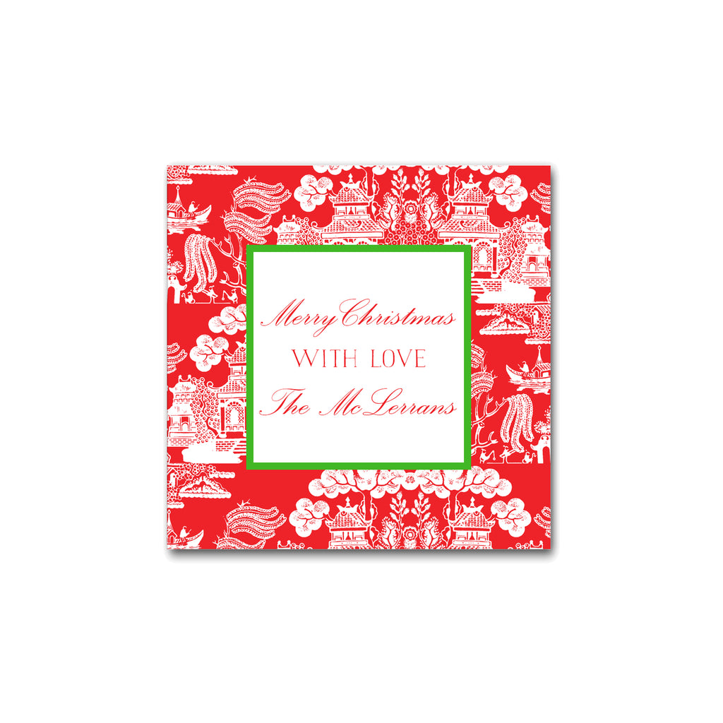 Holiday Chinoiserie Pattern Square Gift Stickers Labels in Red with Kelly Green Christmas