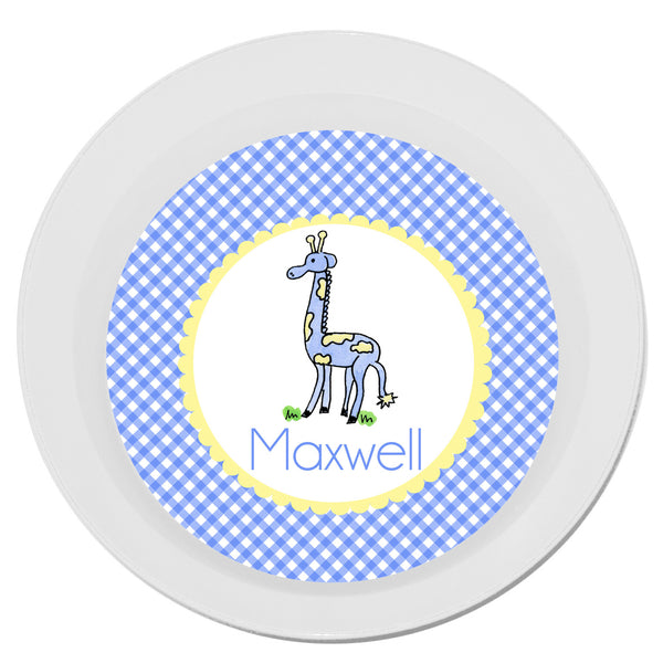 Personalized Melamine Giraffe Blue Bowl by Mayfly and Junebug Designs