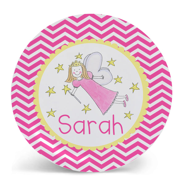 Personalized Melamine Fairy with Stars Plate by Mayfly and Junebug Designs