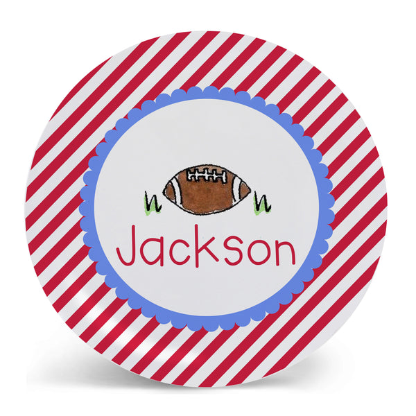 Personalized Melamine Football Plate by Mayfly and Junebug Designs
