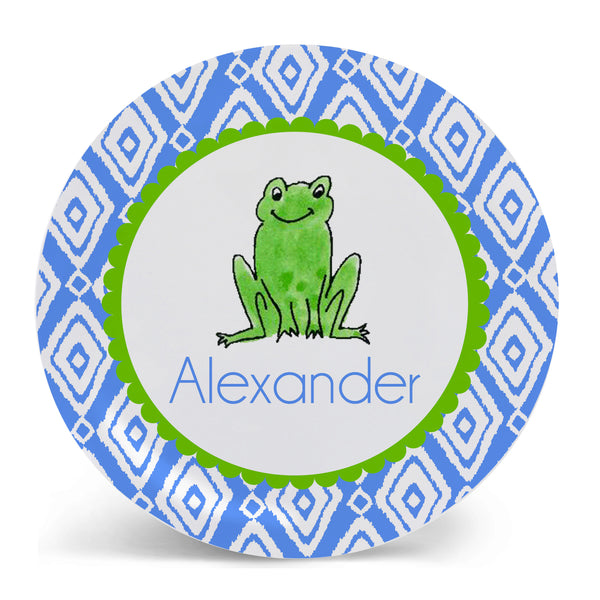 Personalized Melamine Frog Boy Plate by Mayfly and Junebug Designs