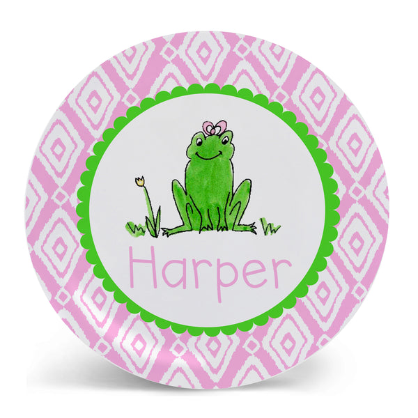 Personalized Melamine Frog Girl Plate by Mayfly and Junebug Designs