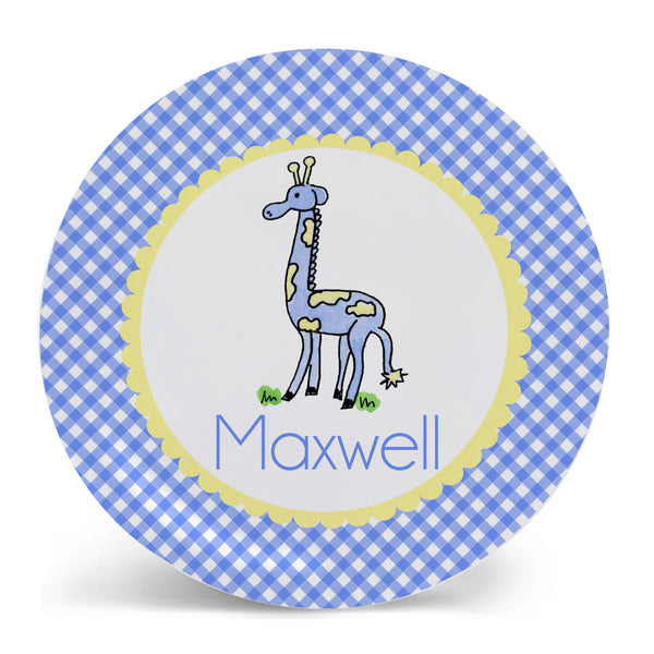 Personalized Melamine Giraffe Blue Plate by Mayfly and Junebug Designs