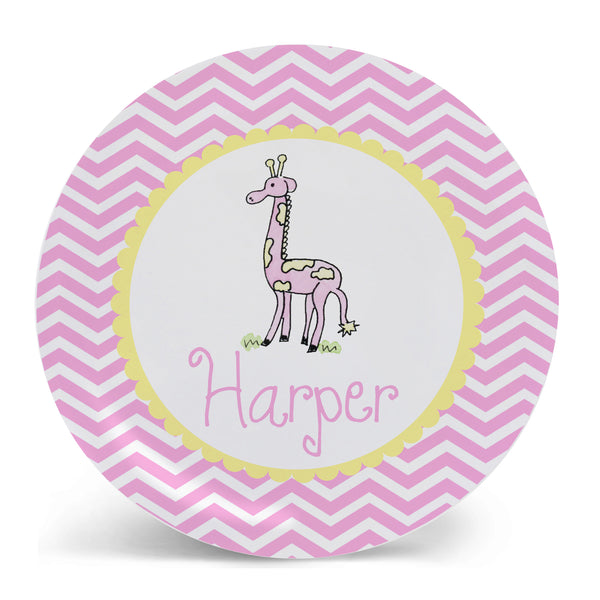 Personalized Melamine Giraffe Pink Plate by Mayfly and Junebug Designs