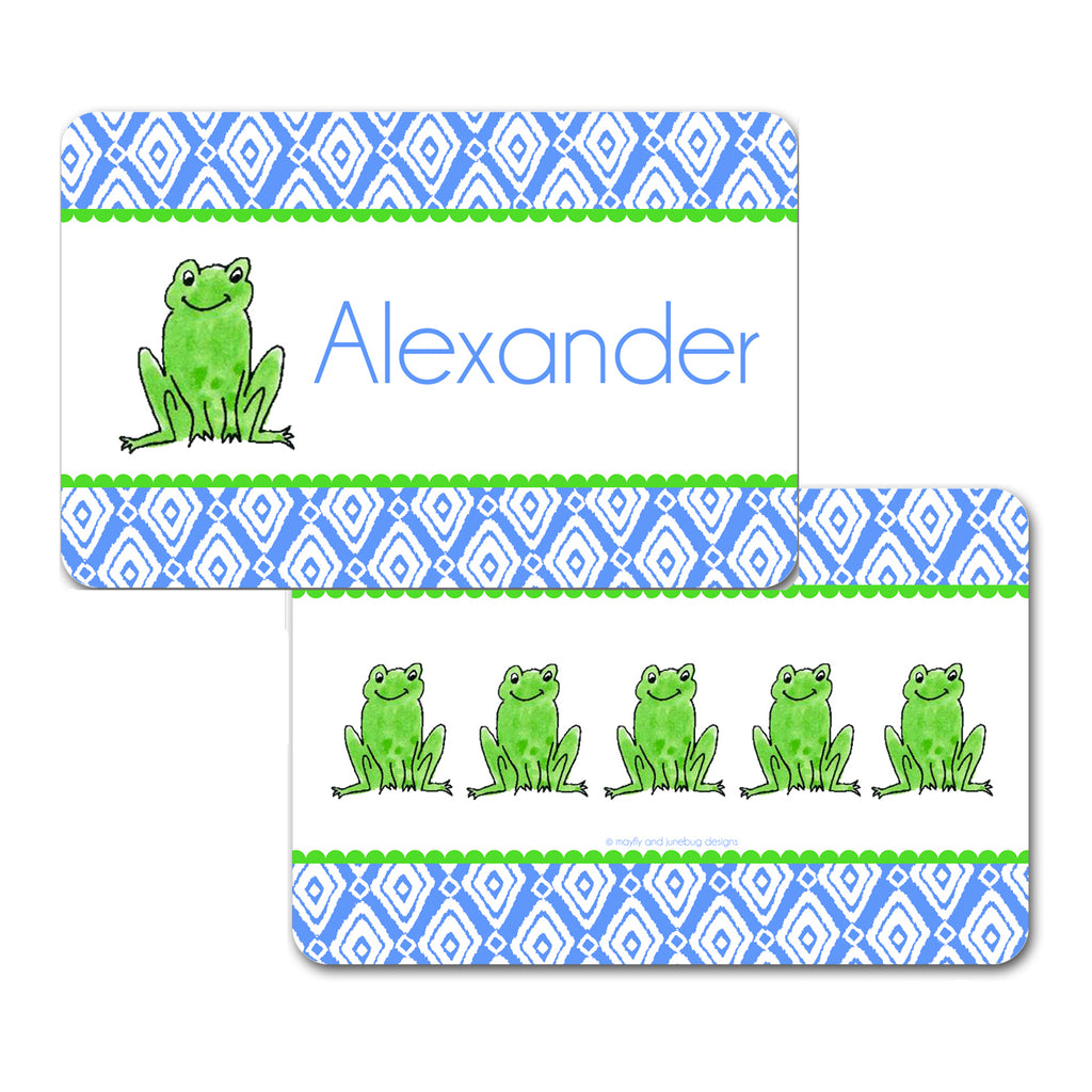 Personalized Frog Boy Placemat by Mayfly and Junebug Designs