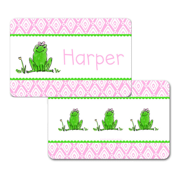 Personalized Frog Girl Placemat by Mayfly and Junebug Designs