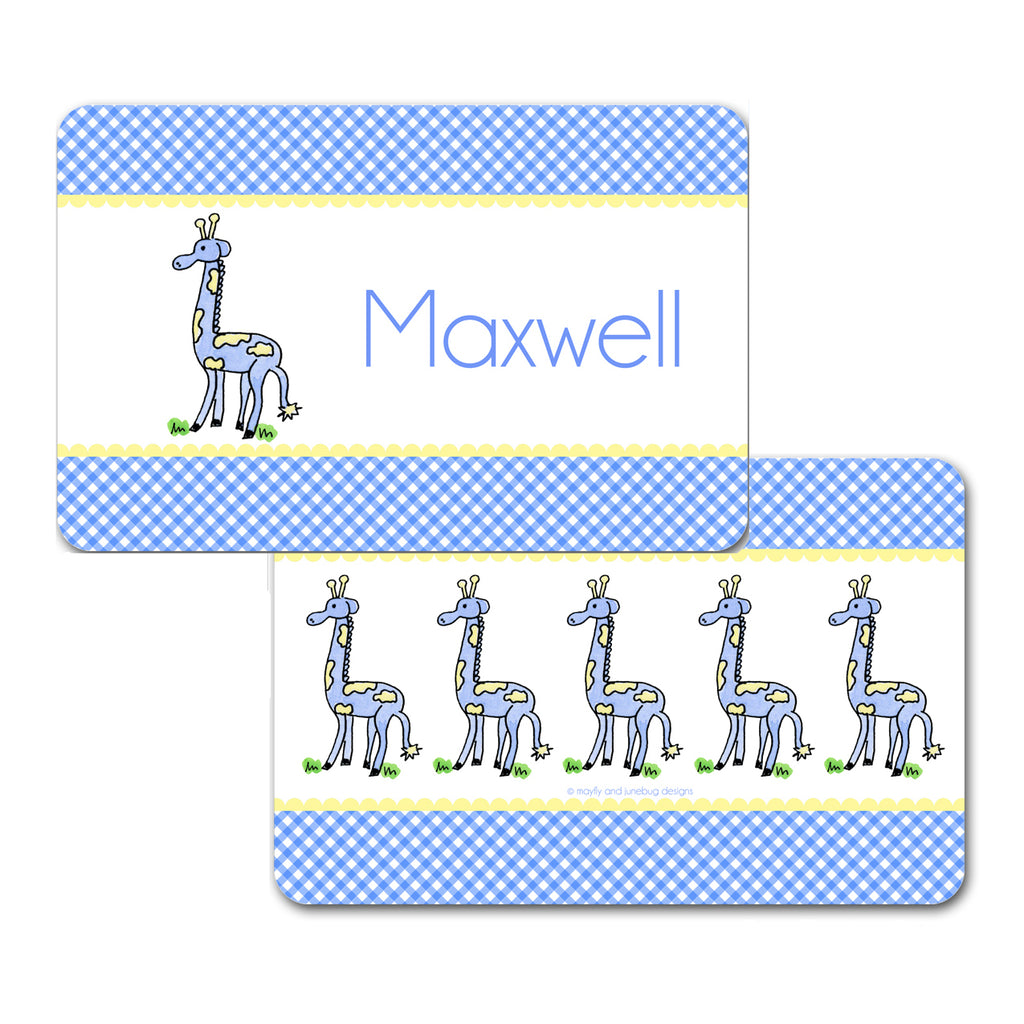 Personalized Giraffe Blue Placemat by Mayfly and Junebug Designs