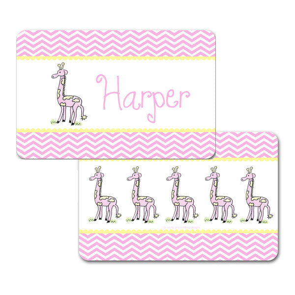 Personalized Giraffe Pink Placemat by Mayfly and Junebug Designs