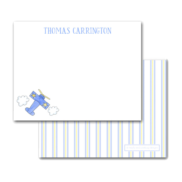 Airplane notecards Note cards Thank you notes for child boy gift baby gift new mom shower stationery preppy stationary kid