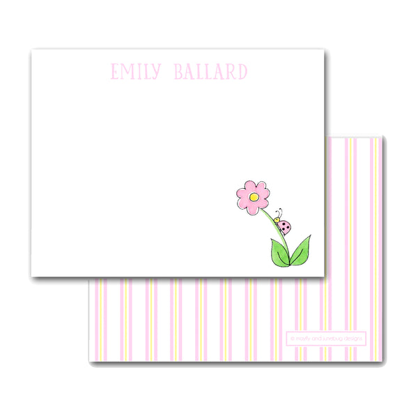 kids personalized notecards note card bug on a flower garden for girls monogram thank you notes