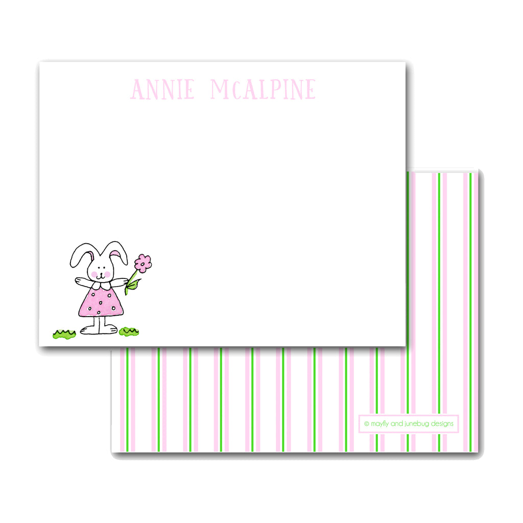 kids personalized notecards note card bunny girl rabbit Easter monogram thank you notes