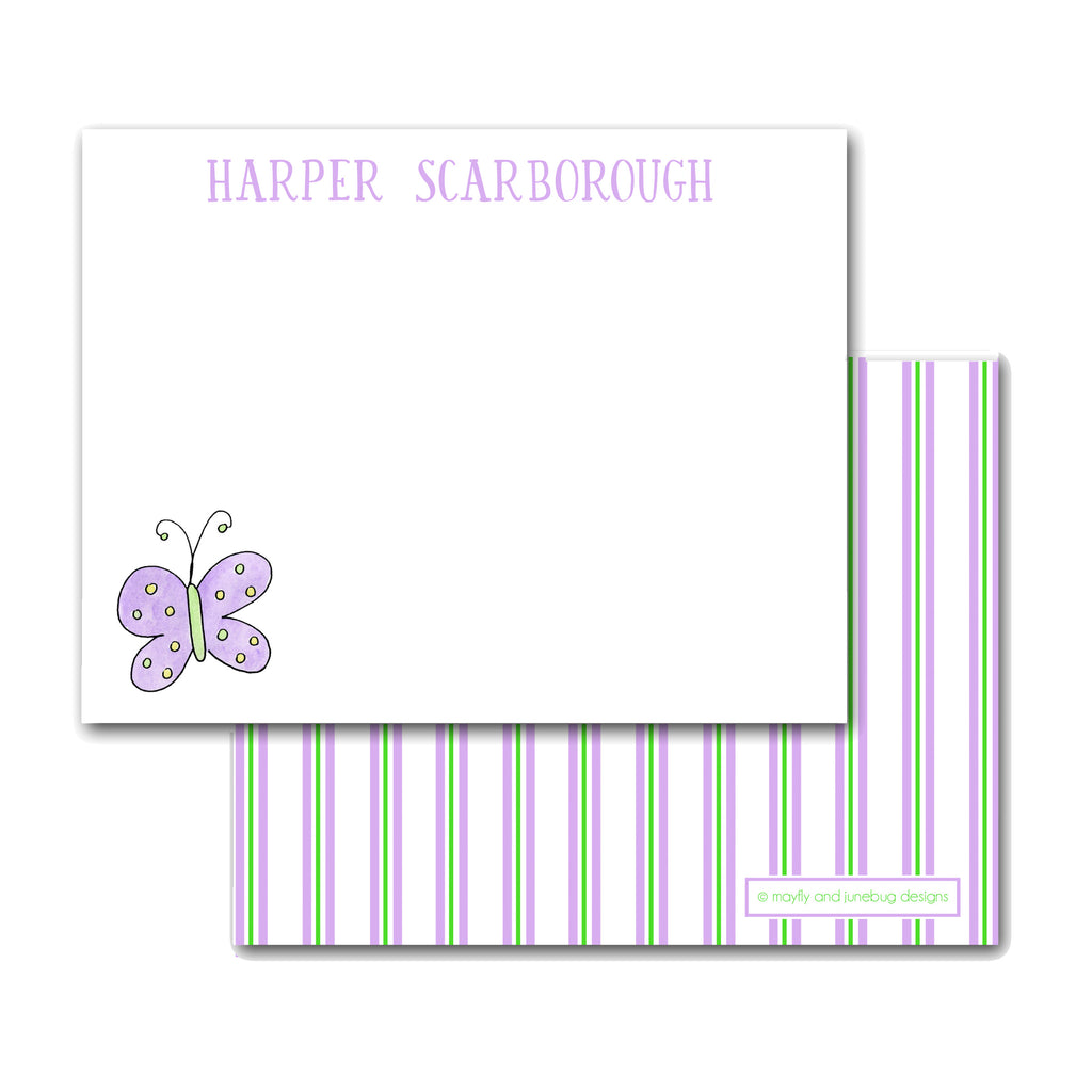 purple butterfly notecards personalized note cards for girls custom monogram stationery