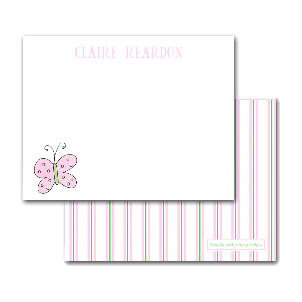 butterfly notecards personalized note cards for girls pink stationery