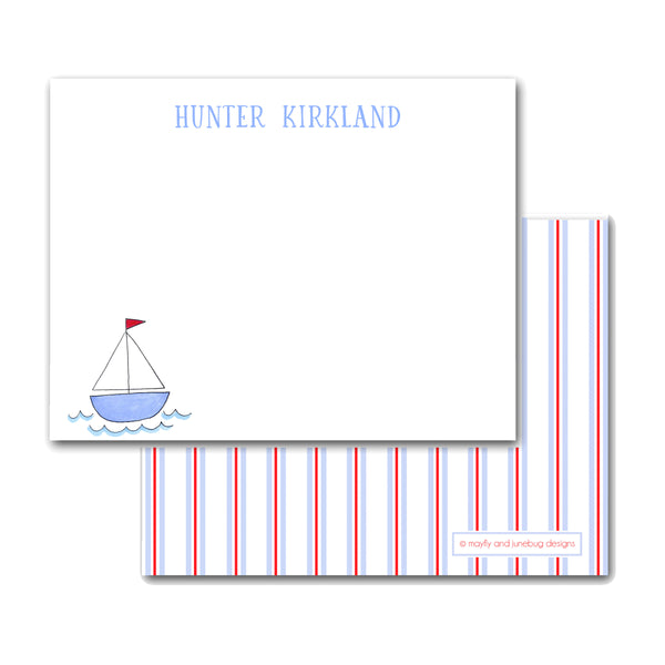 Sailboat Sail boat notecards Note cards Thank you notes for child boy gift baby gift new mom shower stationery preppy stationary kid