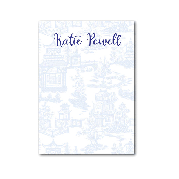 "Chinoiserie Notepad Personalized Monogram Note pad, 5"" x 7"" in Pale Blue"