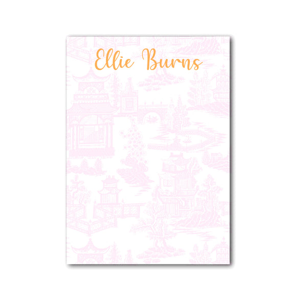 "Chinoiserie Notepad Personalized Monogram Note pad, 5"" x 7"" in Pale Pink"