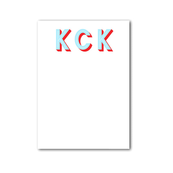 "Modern Initials Notepad Personalized Monogram Custom Note pad, 5"" x 7"""