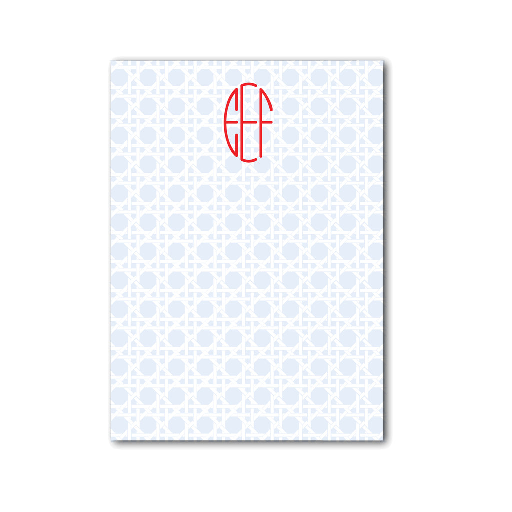 "Rattan Notepad Personalized Monogram Note pad, 5"" x 7"" in Pale Blue"