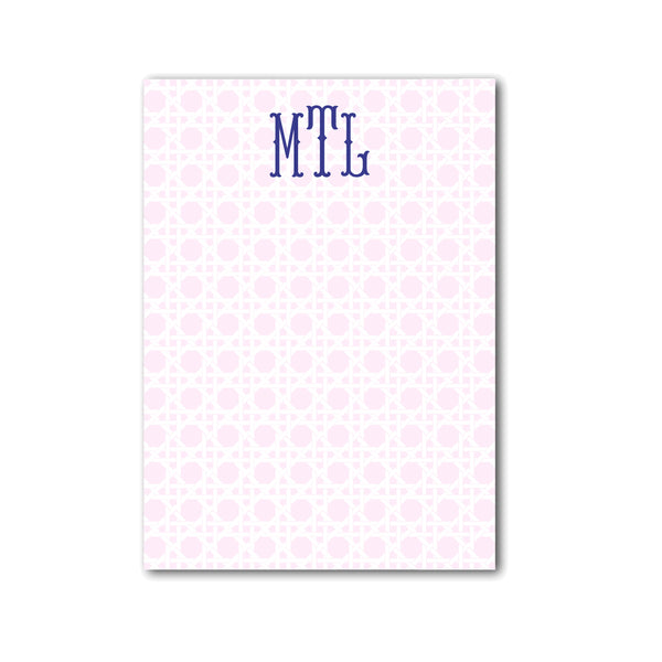 "Rattan Notepad Personalized Monogram Note pad, 5"" x 7"" in Pale Pink"
