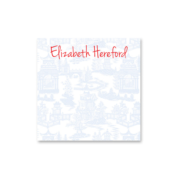 "Chinoiserie Square Notepad Personalized Note pad, 5.5"" square in Pale Blue"