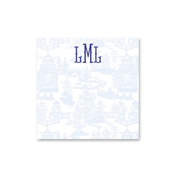 "Chinoiserie Square Notepad Personalized Note pad, 8"" square in Pale Blue"