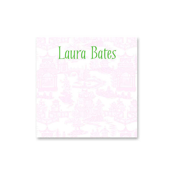 personalized chinoiserie notepad note pad monogram pale pink