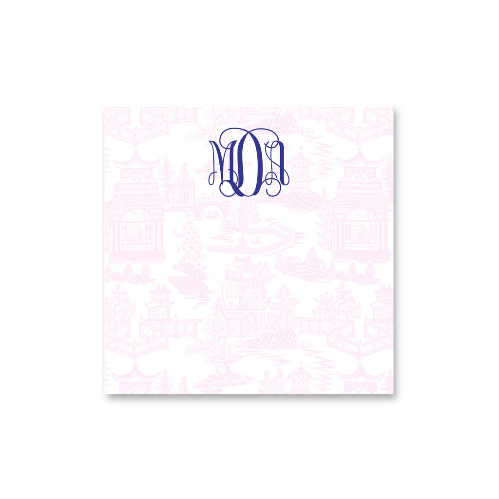 chinoiserie note pad pale pink notepad personalized