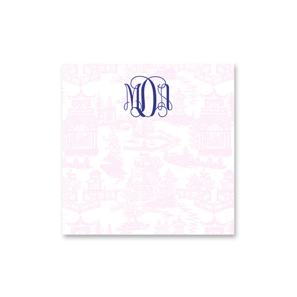chinoiserie pink personalized notepad note pad monogram