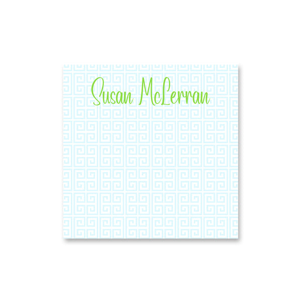 personalized notepad monogram note pad greek key square