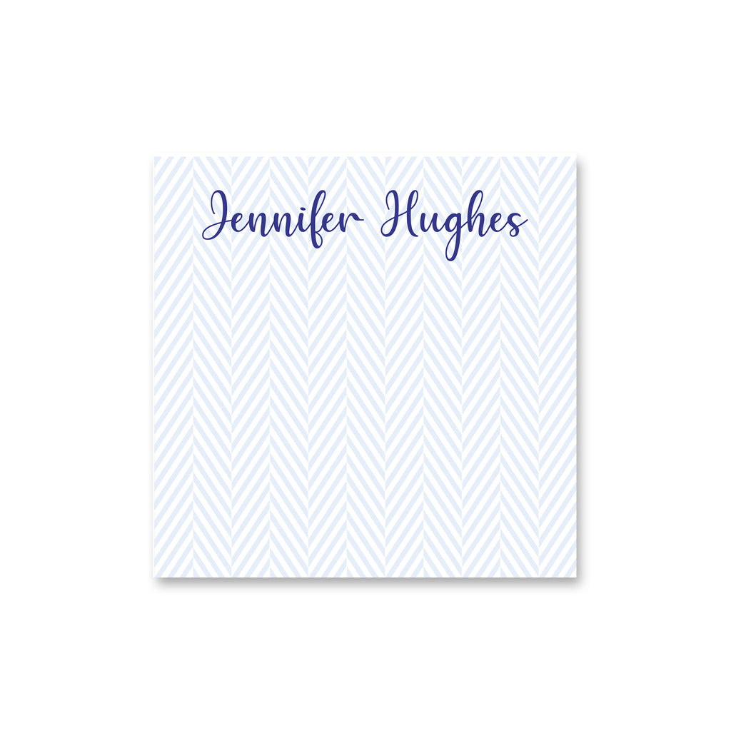 "Herringbone Square Notepad Personalized Note pad, 5.5"" square in Pale Blue"