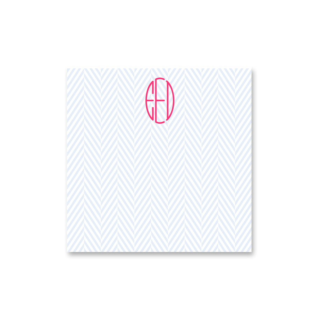 "Herringbone Square Notepad Personalized Note pad, 8"" square in Pale Blue"
