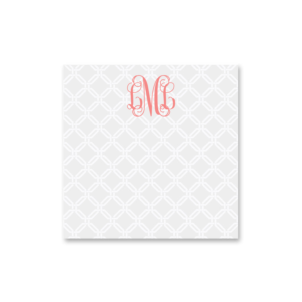"Knot Square Notepad Personalized Note pad, 5.5"" square in Pale Gray"