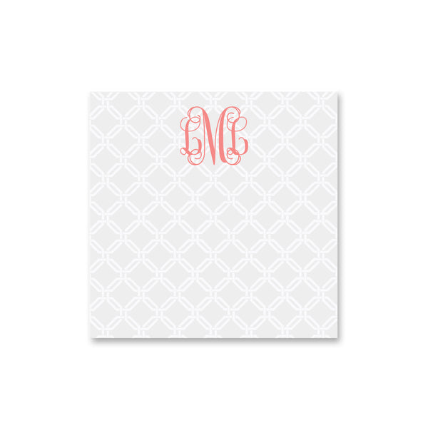 "Knot Square Notepad PEsonalized Note pad, 8"" square in Pale Gray"