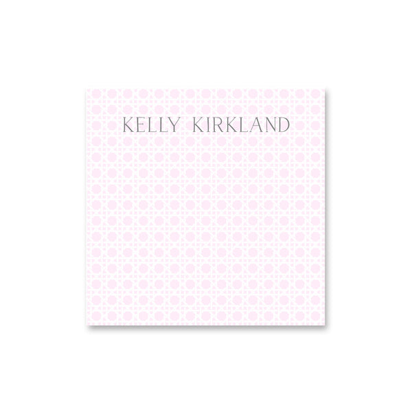 "Rattan Square Notepad Personalized Note pad, 5.5"" square in Pale Pink"