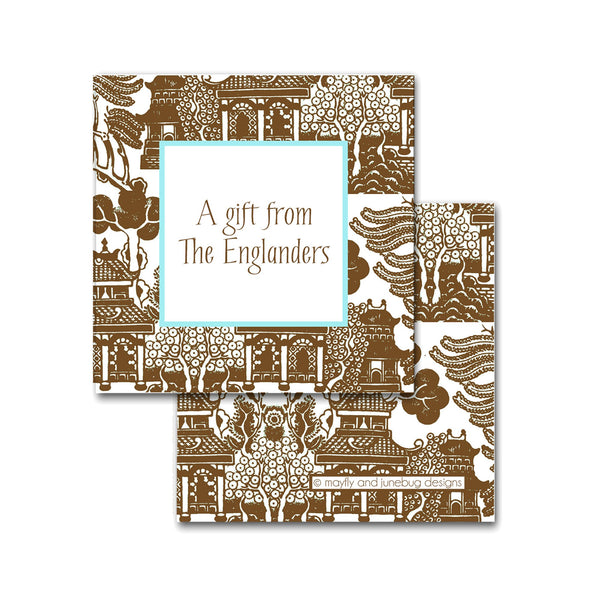 brown chinoiserie print calling cards enclosure cards personalized