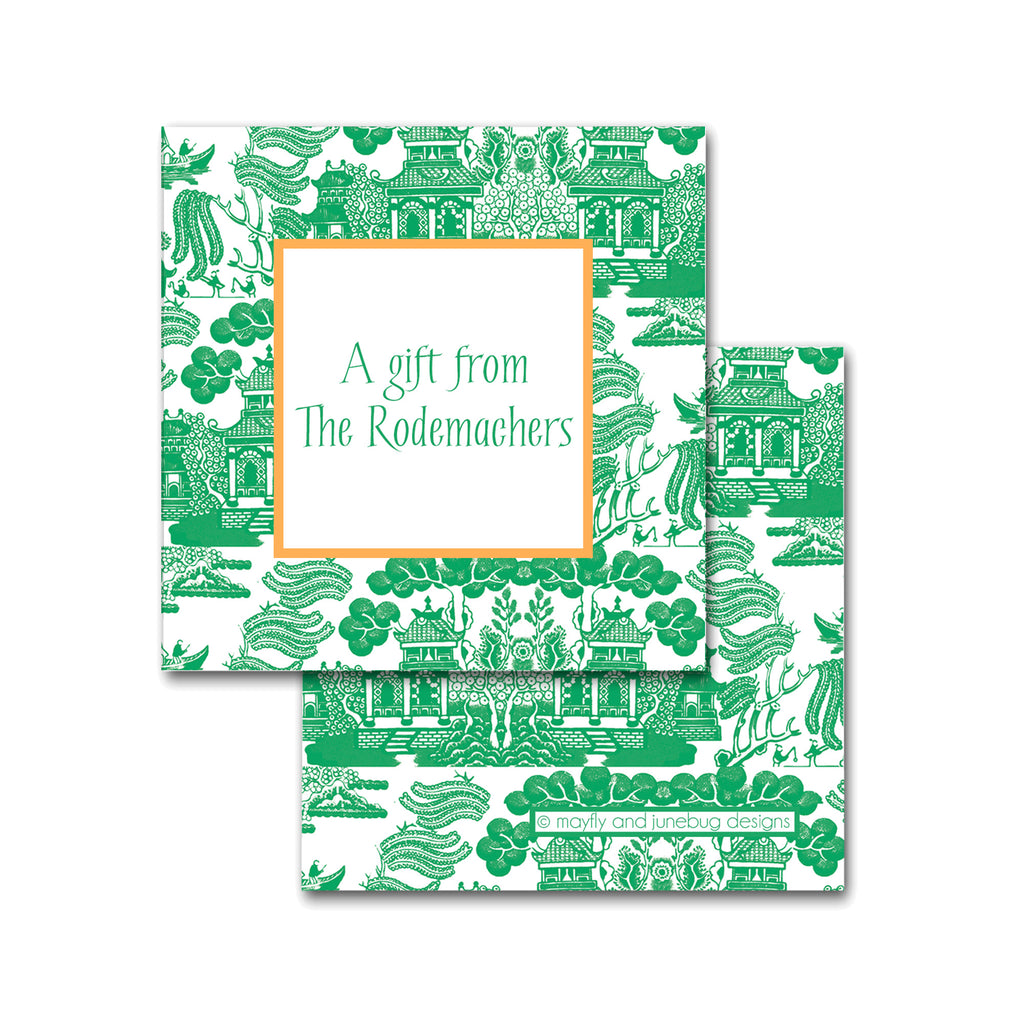 green chinoiserie calling cards enclosures personalized