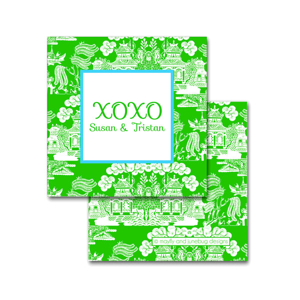 green chinoiserie calling cards enclosures square personalized