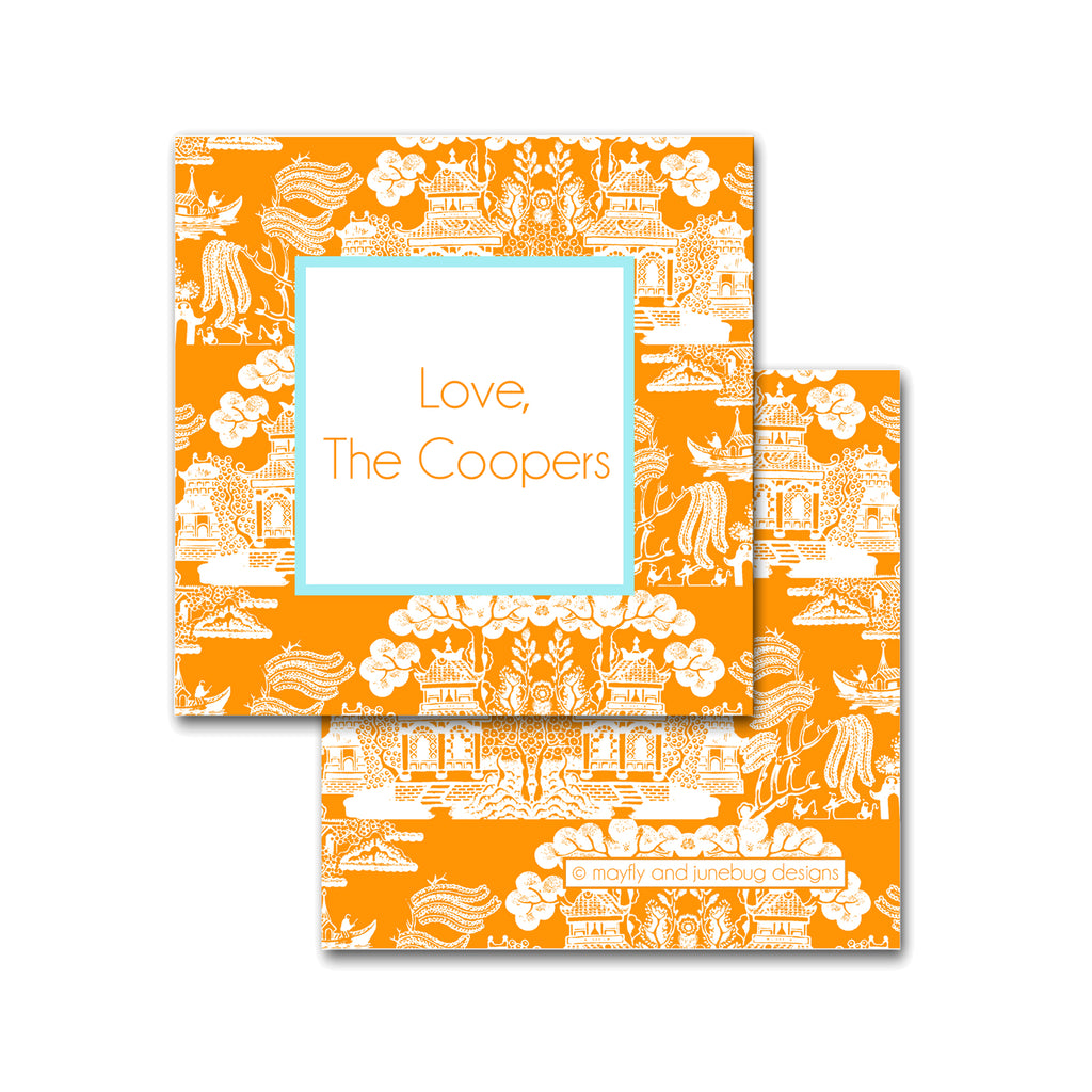 Chinoiserie Pattern Square Calling Cards in Orange with Robins Egg Blue