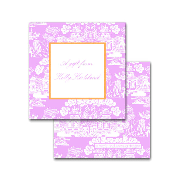 chinoiserie calling card enclosure personalized
