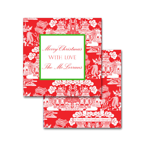 Holiday Chinoiserie Pattern Square Calling Cards in Red with Kelly Green Christmas Tags