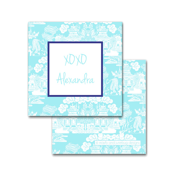 personalized chinoiserie square calling cards enclosures