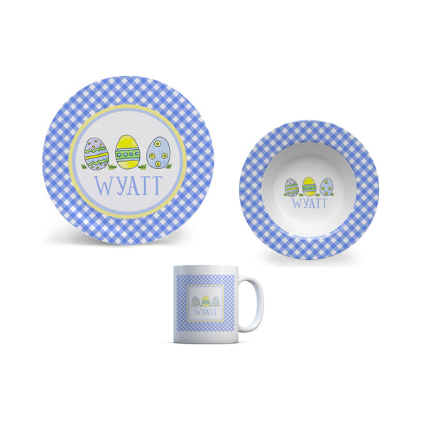 Easter Personalized Kids Plate, Bowl, and Cup Set | Easter Childrens Dishes in Blue