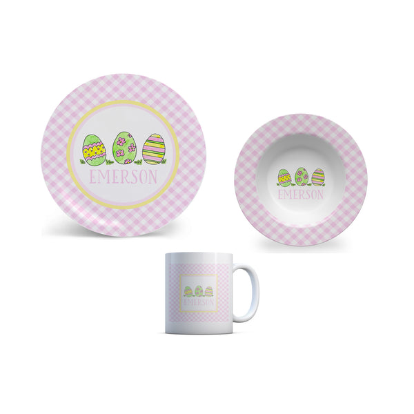Easter Personalized Kids Plate, Bowl, and Cup Set | Easter Childrens Dishes in Pink