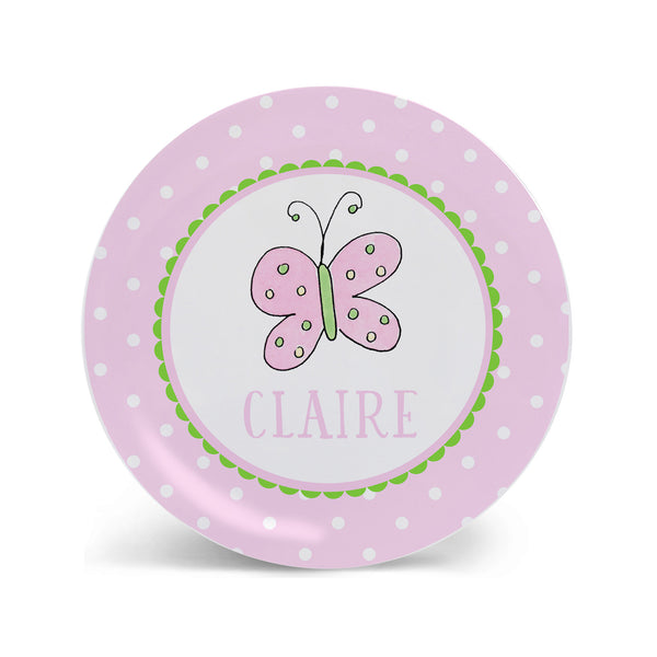 Butterfly girls melamine kids plate personalized