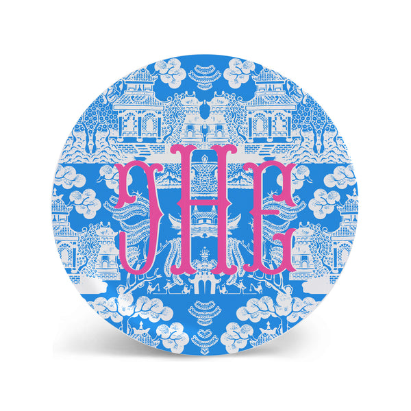 Chinoiserie Plates in Medium Blue Personalized Monogram Plate