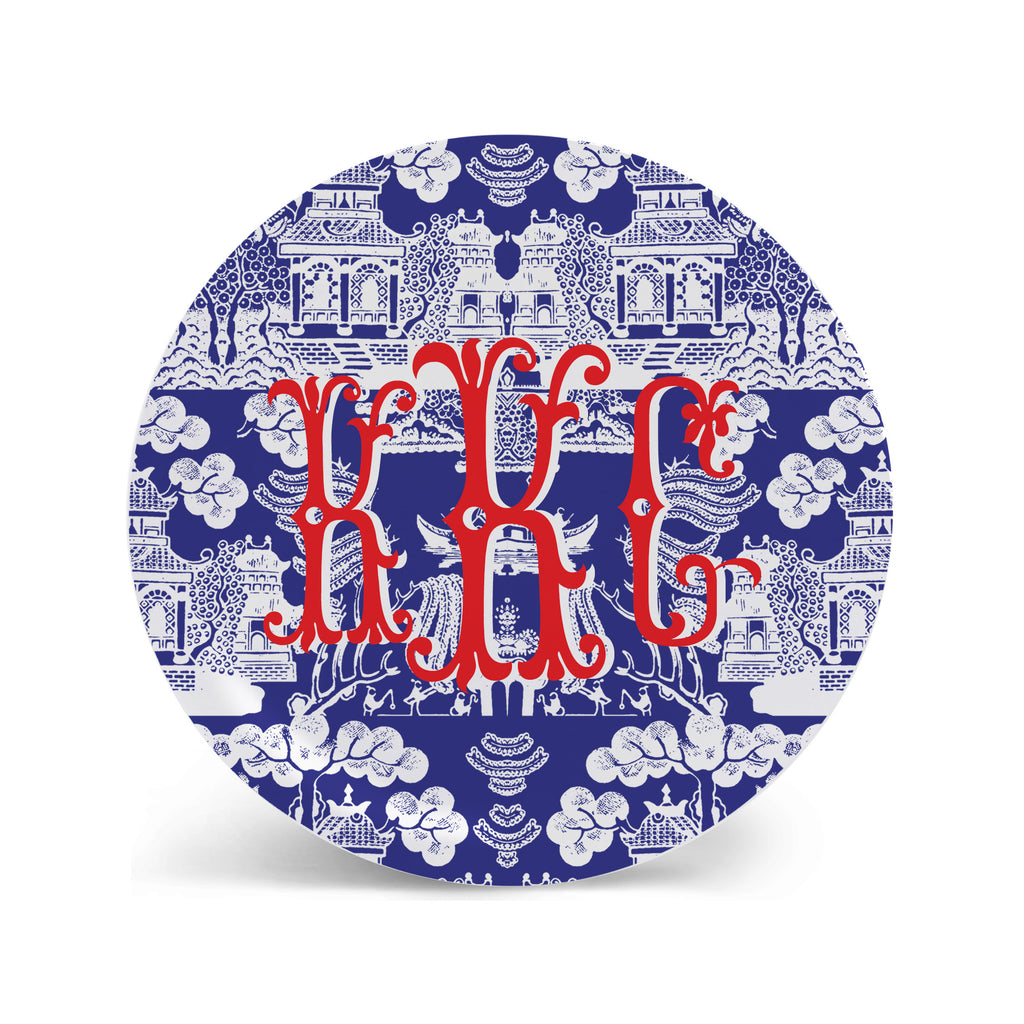 Chinoiserie Plates in Marine Blue Personalized Monogram Plate