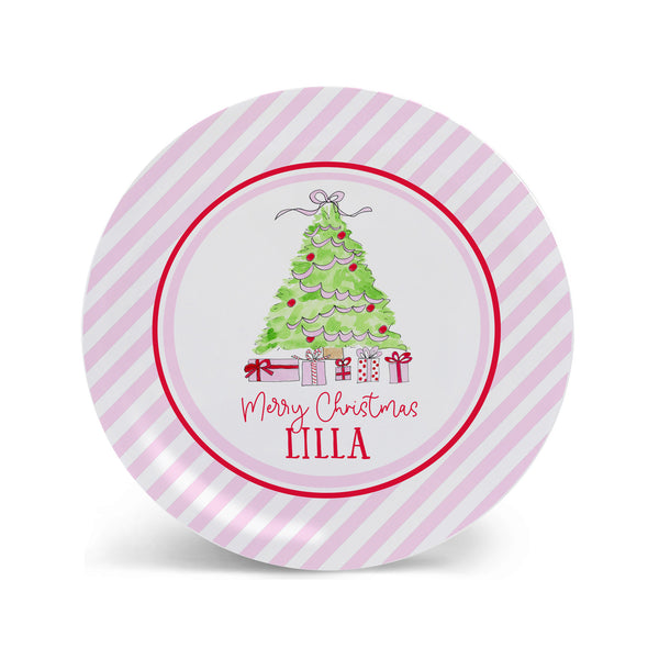 girl Christmas plate melamine pink Christmas tree holiday gift child plate