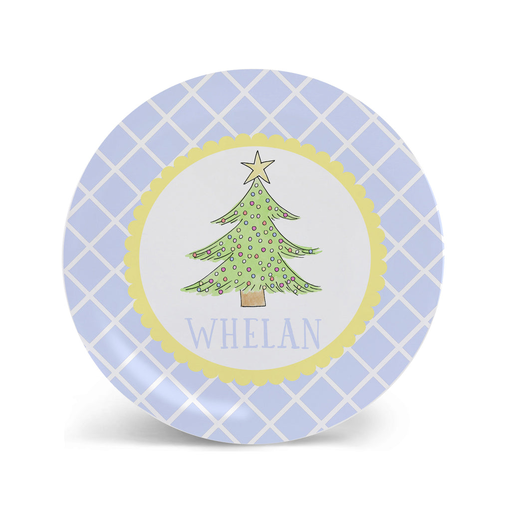 Personalized Kids Christmas Tree Melamine Plate in Blue