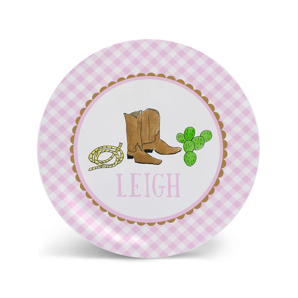 Cowboy Boots Personalized Kids Plate in Pink